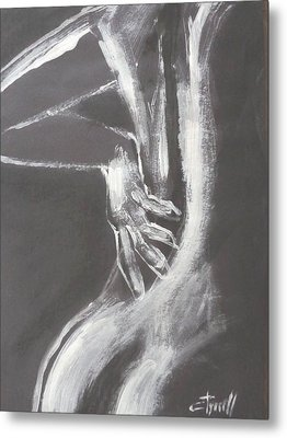 Black And White Sinuous Back - Female Nude Metal Print