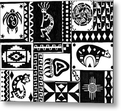 Black And White Southwest Sampler Metal Print by Susie WEBER
