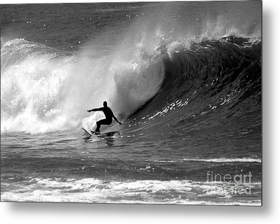 Black And White Surfer Metal Print by Paul Topp