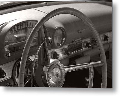 Black And White Thunderbird Steering Wheel  Metal Print