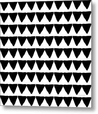 Black And White Triangles- Art By Linda Woods Metal Print by Linda Woods