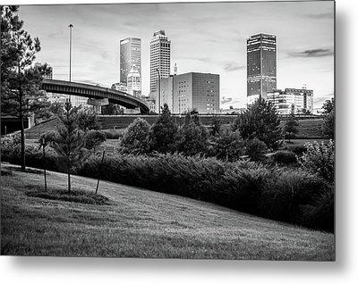 Black And White Tulsa Skyline Park View Metal Print