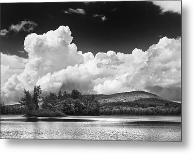 Black And White Vienna Maine Flying Pond With Storm Clouds Fine Art Print Metal Print by Keith Webber Jr