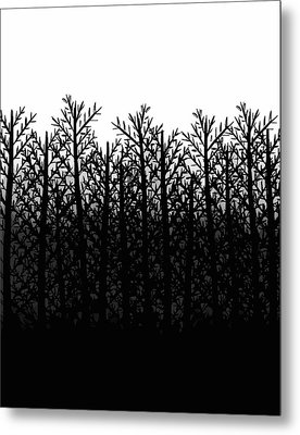 Black And White Winter Trees Metal Print