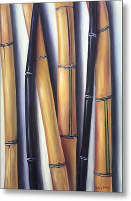 Metal Print featuring the painting Black And Gold Bamboos by Randol Burns