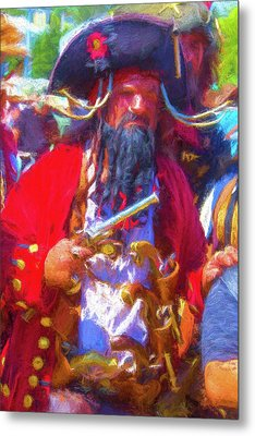 Black Beard Pirate Metal Print by Garry Gay