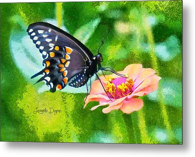 Black Butterfly - Da Metal Print by Leonardo Digenio