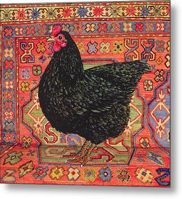 Black Carpet Chicken Metal Print