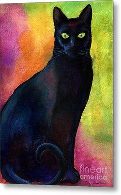 Black Cat 9 Watercolor Painting Metal Print