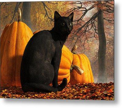 Metal Print featuring the digital art Black Cat At Halloween by Daniel Eskridge