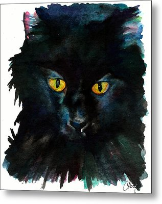 Black Cat Metal Print by Christy  Freeman