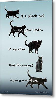 Black Cat Crossing Metal Print