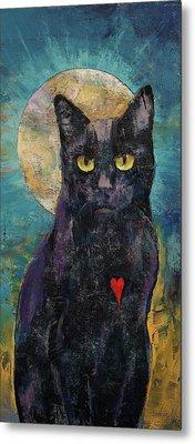 Black Cat Lover Metal Print by Michael Creese