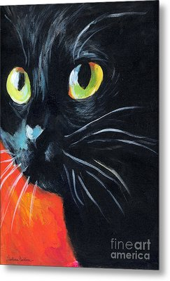Black Cat Painting Portrait Metal Print