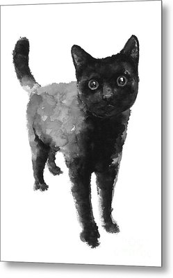 Black Cat Watercolor Painting  Metal Print by Joanna Szmerdt