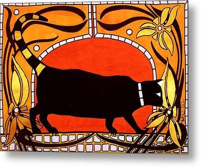Black Cat With Floral Motif Of Art Nouveau By Dora Hathazi Mendes Metal Print