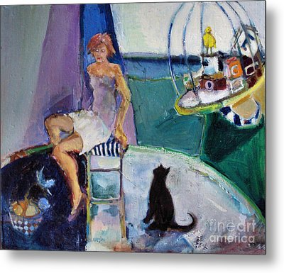 Metal Print featuring the painting Black Cat Yellow Bird by Diane Ursin
