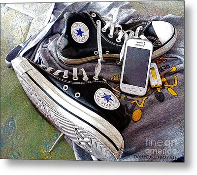 Black Chucks Atfer A Long Walking Metal Print