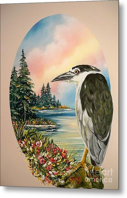 Metal Print featuring the painting Black Crowned Heron by Sigrid Tune