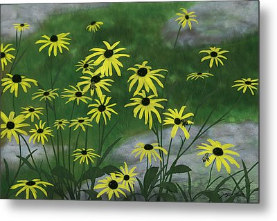 Black Eyed Susans 1 Metal Print by Steven Powers SMP