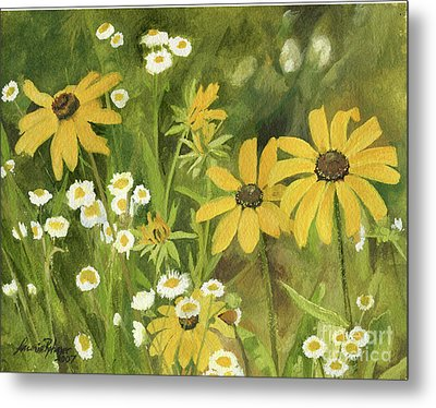 Metal Print featuring the painting Black-eyed Susans In A Field by Laurie Rohner