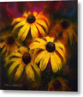 Metal Print featuring the painting Black Eyed Susans - Vibrant Flowers by Karen Whitworth