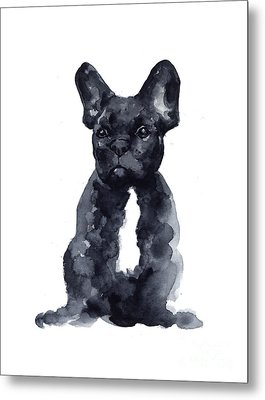 Black French Bulldog Watercolor Poster Metal Print by Joanna Szmerdt