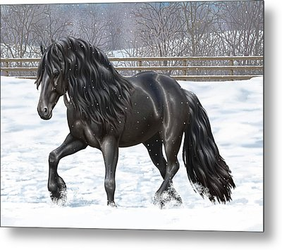 Black Friesian Horse In Snow Metal Print by Crista Forest