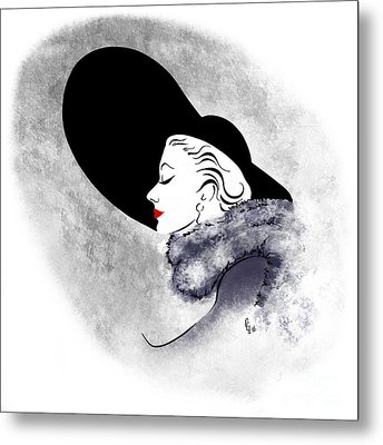 Metal Print featuring the digital art Black Hat Red Lips by Cindy Garber Iverson