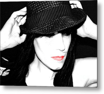 Metal Print featuring the painting Black Hat by Tbone Oliver