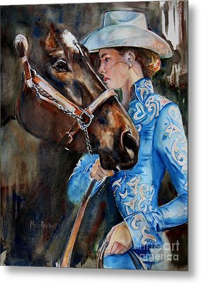 Black Horse And Cowgirl   Metal Print by Maria's Watercolor