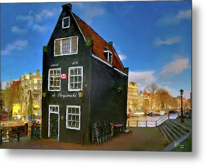 Metal Print featuring the photograph Black House In Jodenbreestraat #1. Amsterdam by Juan Carlos Ferro Duque
