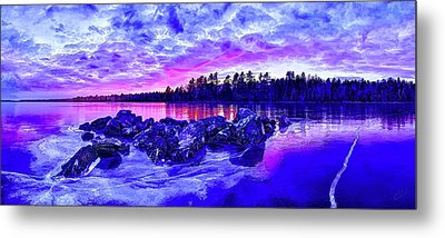 Black Ice At Twilight Metal Print by ABeautifulSky Photography