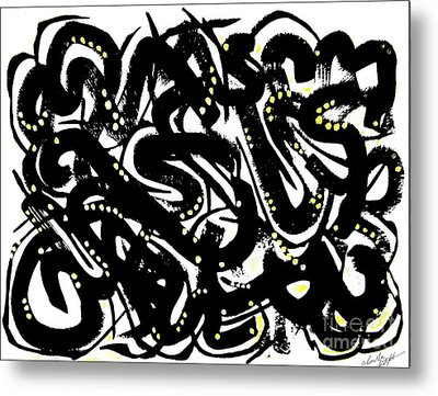 Black Ink Gold Paint Metal Print