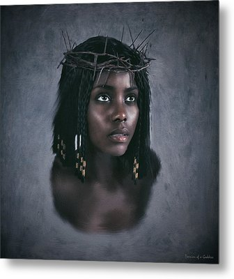 Black Jesus Portrait V Metal Print by Ramon Martinez