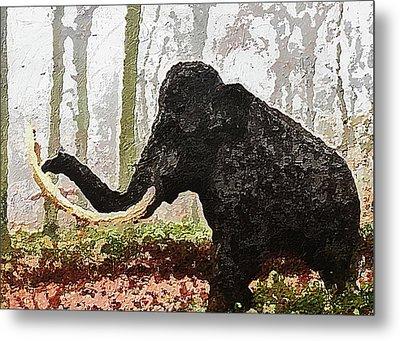 Metal Print featuring the digital art Black Mammoth by PixBreak Art