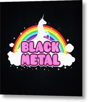 Black Metal Funny Unicorn / Rainbow Mosh Parody Design Metal Print by Philipp Rietz