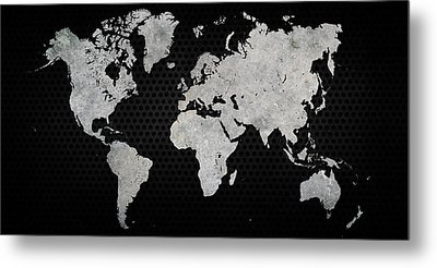 Black Metal Industrial World Map Metal Print