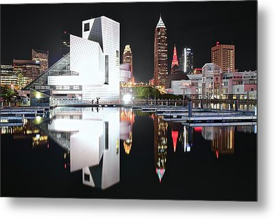 Black Night On The Waterfront 2017 Metal Print by Frozen in Time Fine Art Photography