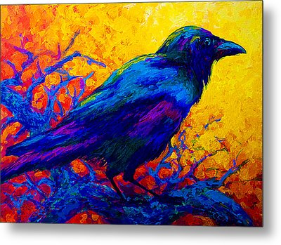 Black Onyx - Raven Metal Print by Marion Rose