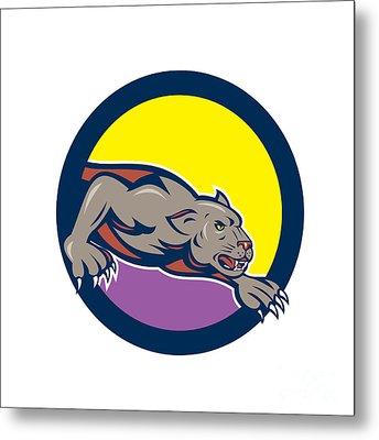 Black Panther Crouching Circle Cartoon Metal Print