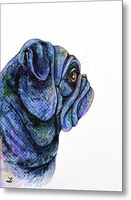 Metal Print featuring the painting Black Pug by Zaira Dzhaubaeva