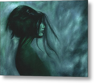 Metal Print featuring the painting Black Raven by Ragen Mendenhall