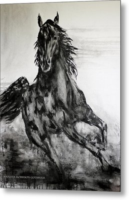 Black Runner Metal Print