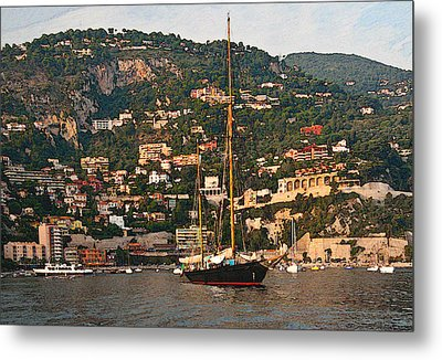 Black Sailboat At Villefranche II Metal Print