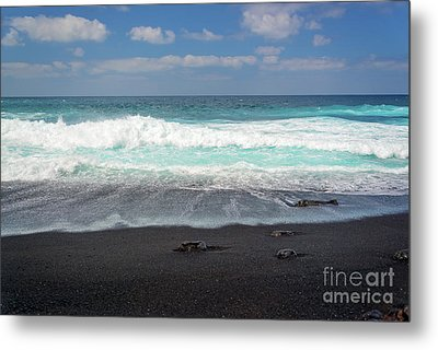 Metal Print featuring the photograph Black Sand Beach by Delphimages Photo Creations