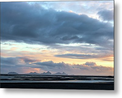 Metal Print featuring the photograph Black Sand Sunset Iceland by Brad Scott