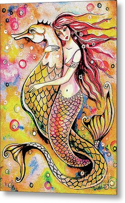 Metal Print featuring the painting Black Sea Mermaid by Eva Campbell