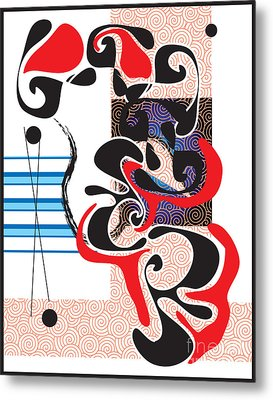 Metal Print featuring the digital art Black Shapes With Red by Christine Perry