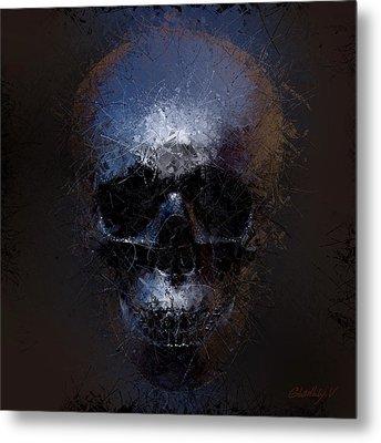 Metal Print featuring the digital art Black Skull by Vitaliy Gladkiy